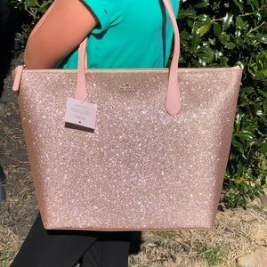 kate spade Bags - Authentic Kate Spade Sparkly Rose Gold Tote NWT!!